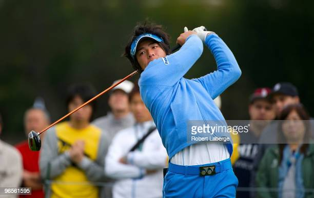 Ryo Ishikawa of Japan makes a tee shot on the second hole during the first round of the Northern Trust Open on February 4, 2010 at the Riviera...