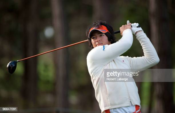 Ryo Ishikawa of Japan makes a tee shot on the seventh hole during a practice round for the AT&T Pebble Beach National Pro-Am at the Spyglass Hill...