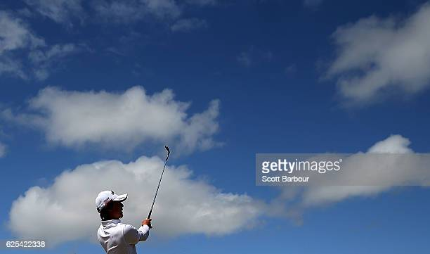 Ryo Ishikawa of Japan plays a shot during day one of the World Cup of Golf at Kingston Heath Golf Club on November 24, 2016 in Melbourne, Australia.