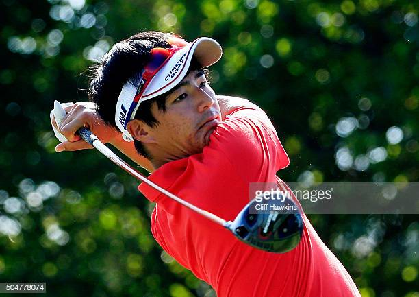 Ryo Ishikawa of Japan plays a shot during practice rounds prior to the Sony Open In Hawaii at Waialae Country Club on January 12, 2016 in Honolulu,...