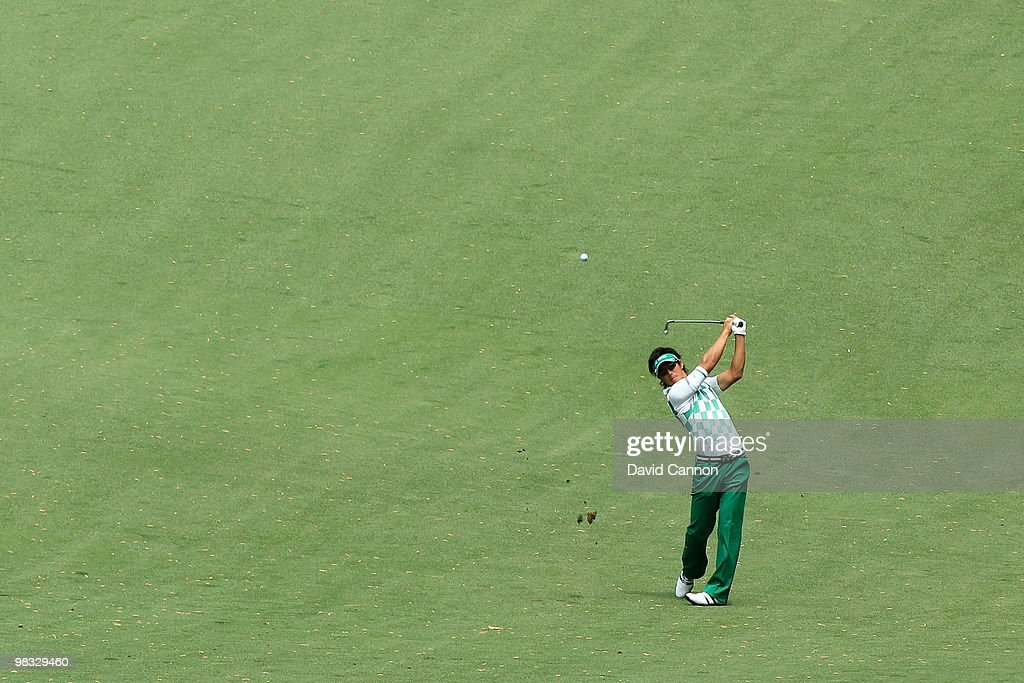 Ryo Ishikawa of Japan plays a shot from the tenth fairway during the first round of the 2010 Masters Tournament at Augusta National Golf Club on April 8, 2010 in Augusta, Georgia.