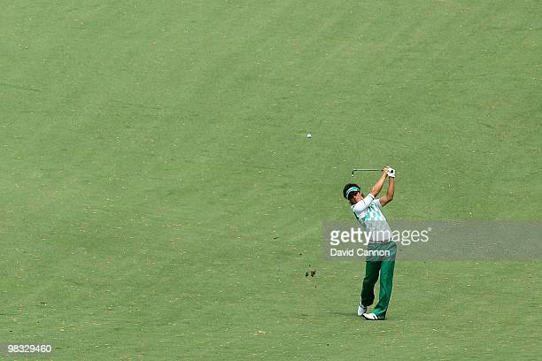 Ryo Ishikawa of Japan plays a shot from the tenth fairway during the first round of the 2010 Masters Tournament at Augusta National Golf Club on...