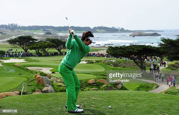 Ryo Ishikawa of Japan plays a shot on the 11th hole during round one of the ATT Pebble Beach National ProAm at Monterey Peninsula Country Club Shore...