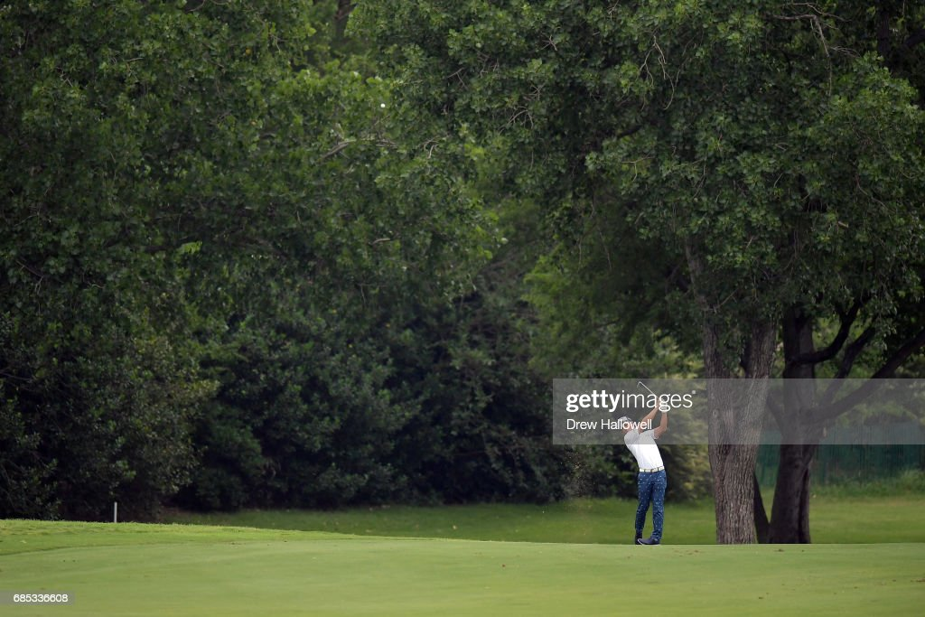 Ryo Ishikawa of Japan plays a shot on the sixth hole during Round Two of the AT&T Byron Nelson at the TPC Four Seasons Resort Las Colinas on May 19, 2017 in Irving, Texas.