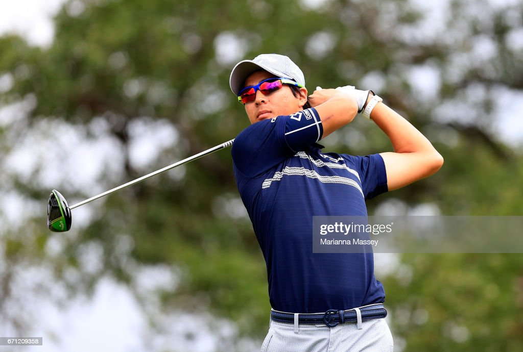 Ryo Ishikawa of Japan plays his shot during the second round of the Valero Texas Open at TPC San Antonio AT&T Oaks Course on April 21, 2017 in San Antonio, Texas.