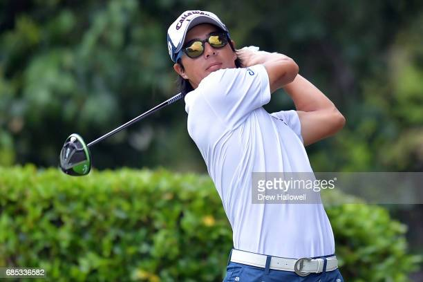Ryo Ishikawa of Japan plays his shot from the first tee during Round Two of the ATT Byron Nelson at the TPC Four Seasons Resort Las Colinas on May 19...