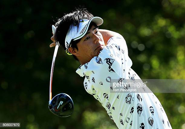 Ryo Ishikawa of Japan plays his shot from the first tee during the first round of the Sony Open In Hawaii at Waialae Country Club on January 14, 2016...