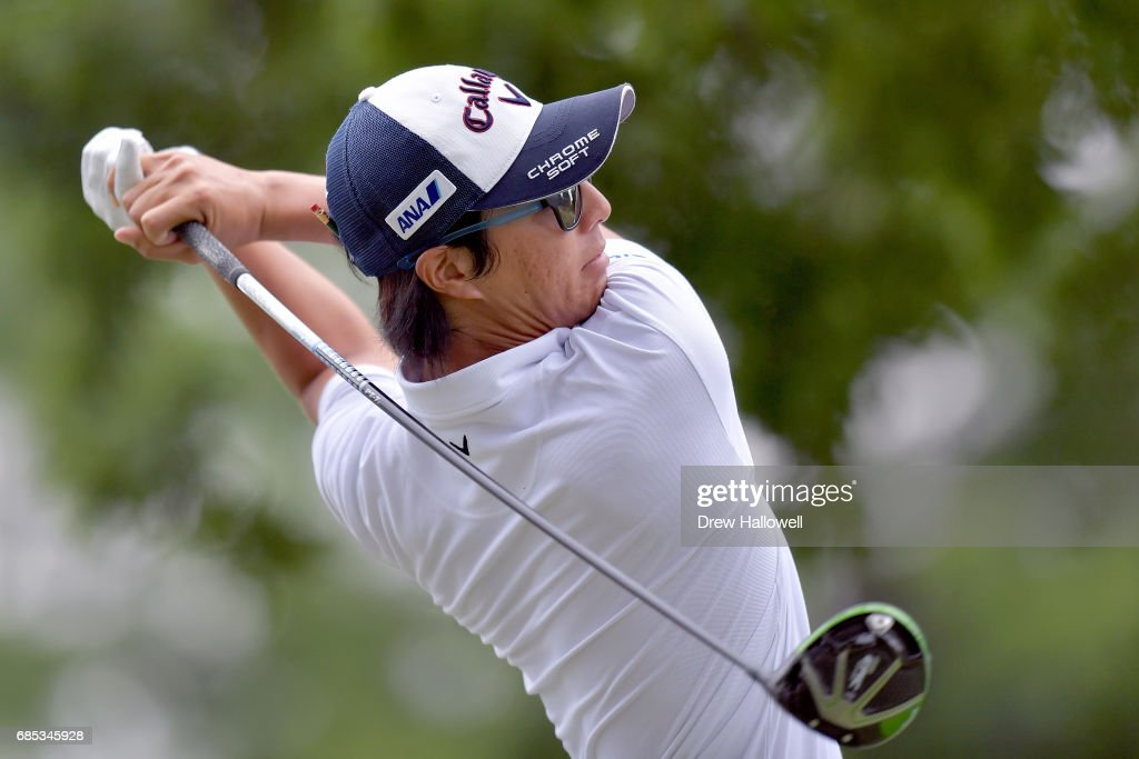 Ryo Ishikawa of Japan plays his shot from the seventh tee during Round Two of the AT&T Byron Nelson at the TPC Four Seasons Resort Las Colinas on May 19, 2017 in Irving, Texas.