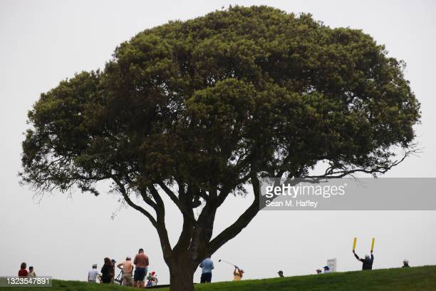 Ryo Ishikawa of Japan plays his shot from the sixth tee prior to the start of the 2021 U.S. Open at Torrey Pines Golf Course on June 14, 2021 in San...