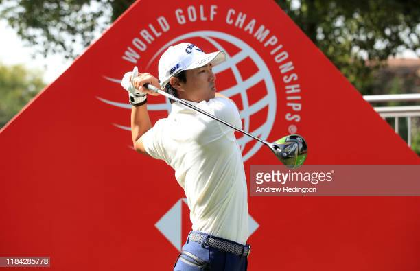 Ryo Ishikawa of Japan plays his shot from the tenth tee during practice prior to the WGC HSBC Champions at Sheshan International Golf Club on October...
