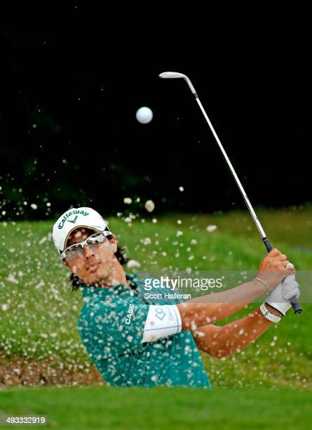 Ryo Ishikawa of Japan plays his shot out of the bunker on the 11th hole during Round Two of the Crowne Plaza Invitational at Colonial on May 23, 2014...