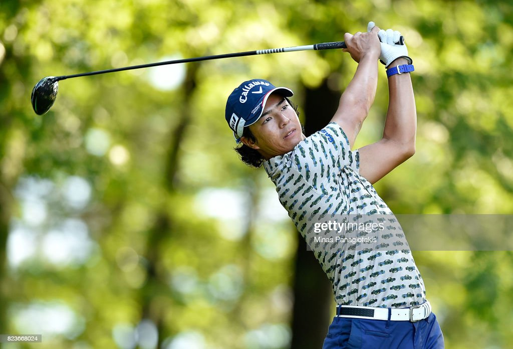 Ryo Ishikawa of Japan prepares to play his shot on the 11th tee during round one of the RBC Canadian Open at Glen Abbey Golf Club on July 27, 2017 in Oakville, Canada.