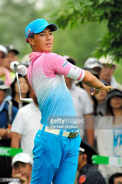 Ryo Ishikawa of Japan reacts after hitting a tee shot during the second round of the San Chlorella Classic at Otaru Country Club on July 29 2011 in...