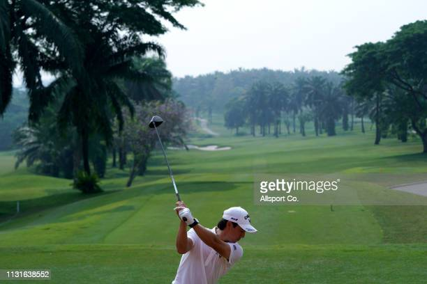 Ryo Ishikawa of Japan tees off on the 10th hole during ProAm day of the Maybank Championship at Saujana Golf and Country Club on March 20 2019 in...