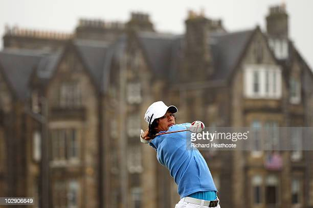 Ryo Ishikawa of Japan tees off on the second hole during the first round of the 139th Open Championship on the Old Course, St Andrews on July 15,...