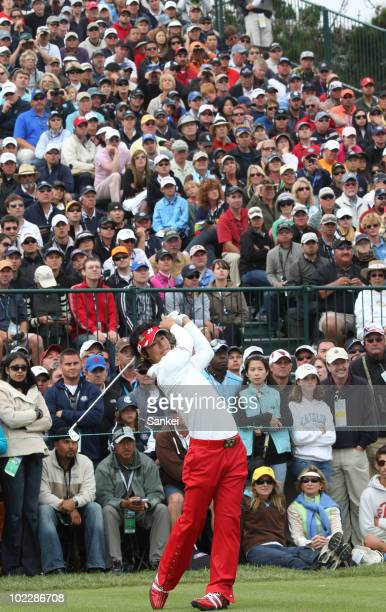 Ryo Ishikawa of Japan tees-off on the 17th hole during the US Open on June 20, 2010 at Pebble Beach, California.
