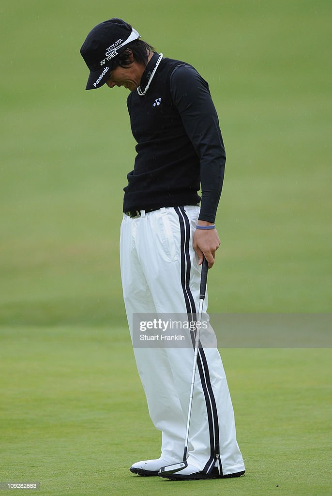 Ryo Ishikawa of Japan watches his missed putt on the third hole during the second round of the Northern Trust Open at Riviera Country Club on February 18, 2011 in Pacific Palisades, California.