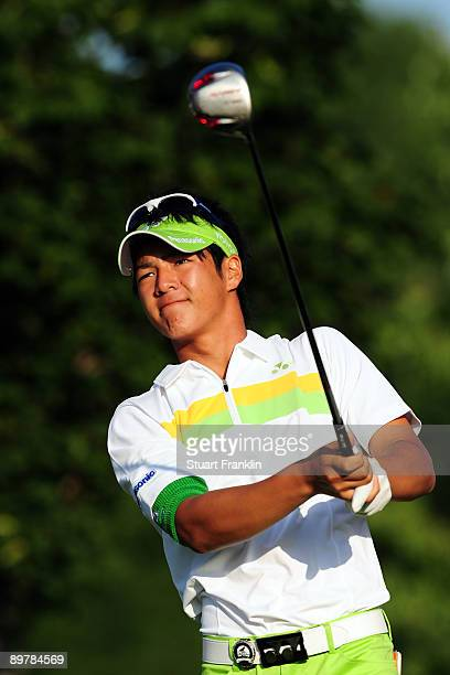 Ryo Ishikawa of Japan watches his tee shot on the 11th hole during the second round of the 91st PGA Championship at Hazeltine National Golf Club on...