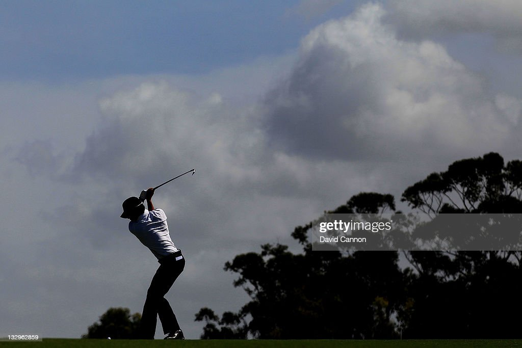 Ryo Ishikawa of the International Team hits a shot during a practice round prior to the start of the 2011 Presidents Cup at Royal Melbourne Golf Course on November 16, 2011 in Melbourne, Australia.