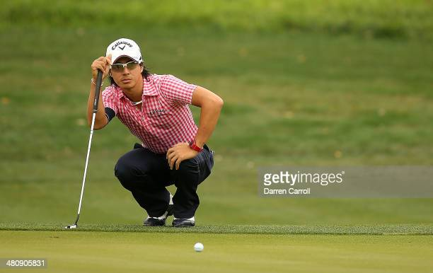 Ryo Ishikawa putts on the 13th during Round One of the Valero Texas Open at the ATT Oaks Course on March 27 2014 in San Antonio Texas