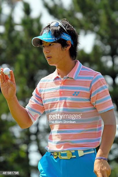 Ryo Ishikwa of Japan acknowledges during the third round of the Vana H Cup KBC Augusta at Keya Golf Club on August 28 2010 in Itoshima Fukuoka Japan