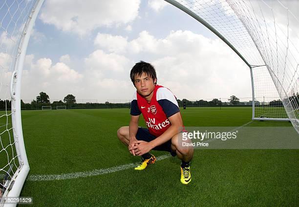 Ryo Miyaichi of Arsenal at London Colney on September 4, 2013 in St Albans, England.
