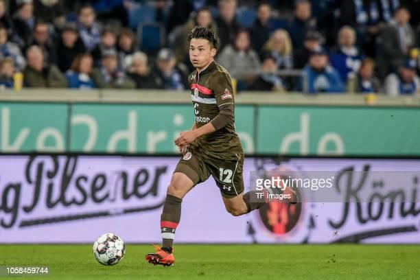 Ryo Miyaichi of St Pauli controls the ball during the Second Bundesliga match between MSV Duisburg and FC St Pauli at SchauinslandReisenArena on...