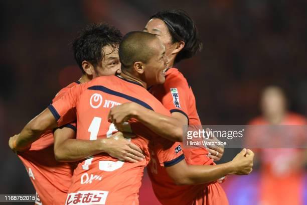 Ryo Okui of Omiya Ardija celebrates scoring his team's second goal during the J.League J2 match between Omiya Ardija and JEF United Chiba at Nack 5...