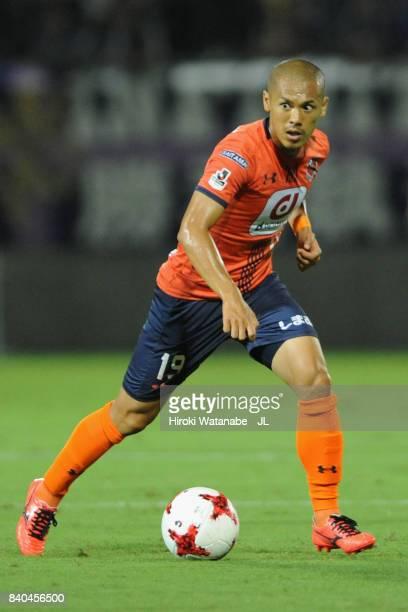 Ryo Okui of Omiya Ardija in action during the J.League J1 match between Omiya Ardija and Sanfrecce Hiroshima at NACK 5 Stadium Omiya on August 26,...