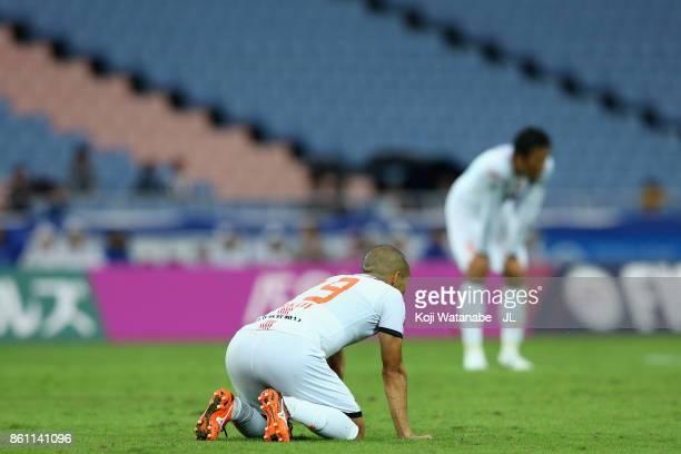 Ryo Okui of Omiya Ardija shows dejection after 1-1 draw in during the J.League J1 match between Yokohama F.Marinos and Omiya Ardija at Nissan Stadium...
