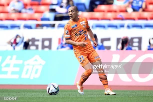 Ryo Okui of Shimizu S-Pulse in action during the J.League Meiji Yasuda J1 match between Yokohama F.Marinos and Shimizu S-Pulse at Nissan Stadium on...