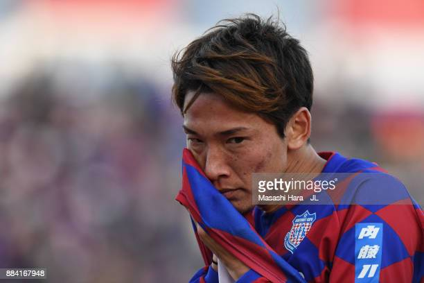 Ryo Shinzato of Ventforet Kofu shows dejection after the relegation to the J2 despite his side's 1-0 victory in the J.League J1 match between...