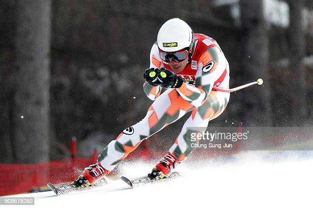 Ryo Sugai of Japan competes in the Men's Downhill Finals during the 2016 Audi FIS Ski World Cup at the Jeongseon Alpine Centre on February 6 2016 in...