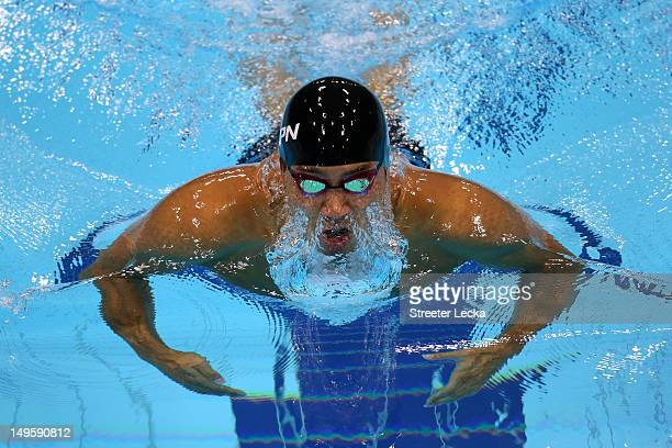 Ryo Tateishi of Japan competes in the Men's 200m Breastroke semi final 1 on Day 4 of the London 2012 Olympic Games at the Aquatics Centre on July 31...