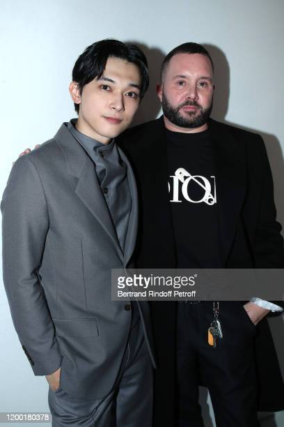 Ryo Yoshizawa and Stylist Kim Jones pose after the Dior Homme Menswear Fall/Winter 20202021 show as part of Paris Fashion Week on January 17 2020 in...
