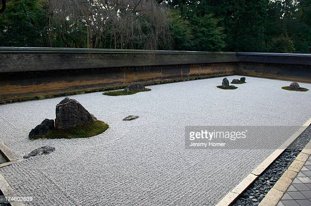 Ryoan Ji Zen templenorthwest Kyoto Japan It belongs to the Myōshinji school of the Rinzai branch of Zen Buddhism The temple garden is considered to...