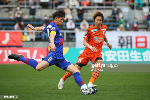 Ryohei ARAI of Ventforet Kofu in action during the J.League Meiji Yasuda J2 match between Ehime FC and Ventforet Kofu at Ningineer Stadium on March...