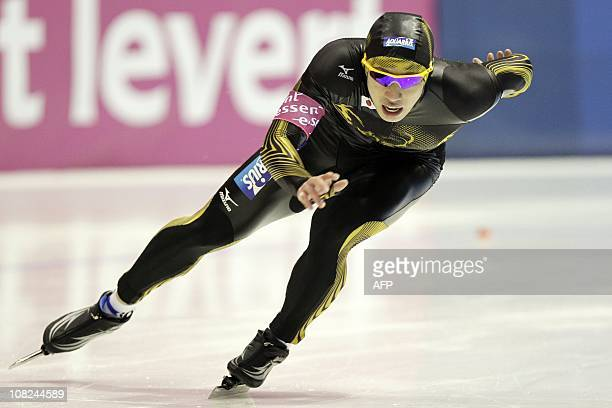 Ryohei Haga of Japan competes in the 500 metre sprint during the world speed skating championships in Heerenveen on January 22 2011 AFP...