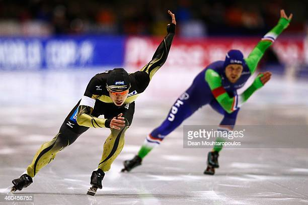 Ryohei Haga of Japan competes in the Division A 2nd 500m Mens race on day three of the ISU World Cup Speed Skating held at Thialf Ice Arena on...