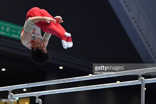 Ryohei Kato competes in the Parallel Barsduring Japan National Gymnastics Apparatus Championships at the Takasaki Arena on June 25 2017 in Takasaki...