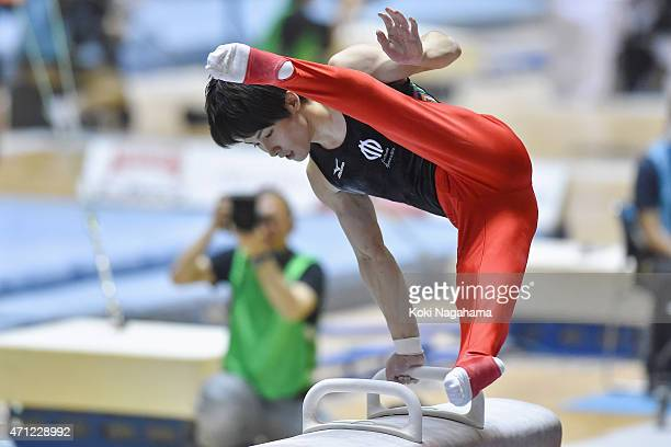 Ryohei Kato competes in the Pommel Horse during day three of the All Japan Artistic Gymnastics Individual All Around Championships at Yoyogi National...