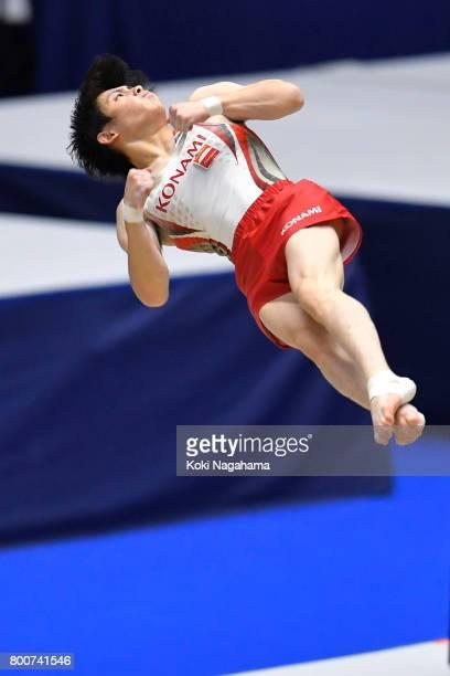 Ryohei Kato competes on the floor exercise during Japan National Gymnastics Apparatus Championships at the Takasaki Arena on June 25 2017 in Takasaki...
