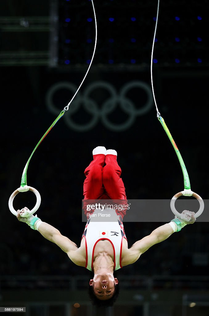 Ryohei Kato of Japan competes on the rings during the Men's Individual All-Around final on Day 5 of the Rio 2016 Olympic Games at the Rio Olympic Arena on August 10, 2016 in Rio de Janeiro, Brazil.