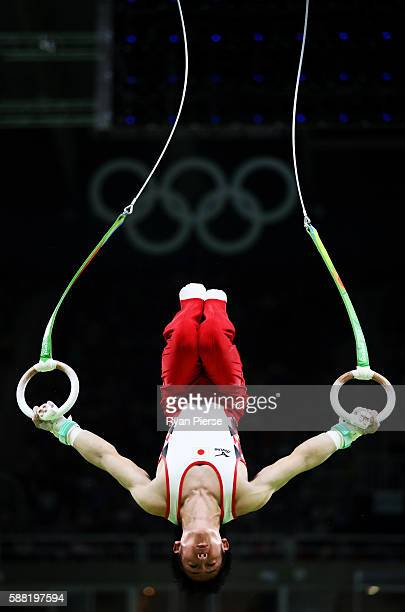Ryohei Kato of Japan competes on the rings during the Men's Individual AllAround final on Day 5 of the Rio 2016 Olympic Games at the Rio Olympic...
