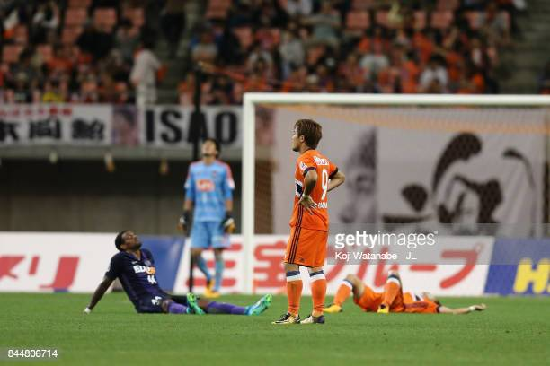 Ryohei Yamazaki of Albirex Niigata show dejection after 0-0 draw in during the J.League J1 match between Albirex Niigata and Sanfrecce Hiroshima at...