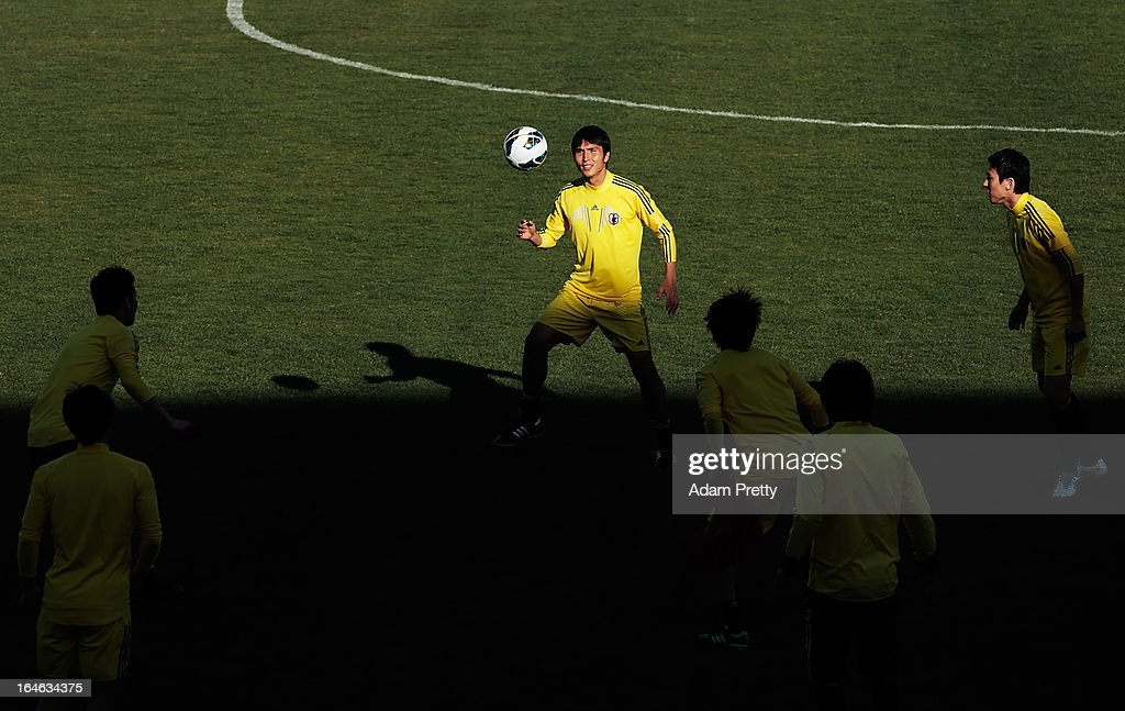 Ryoichi Maeda of Japan in action during the training session ahead of the World Cup qualifier against Jordan at King Abdullah International Stadium on March 25, 2013 in Amman, Jordan.