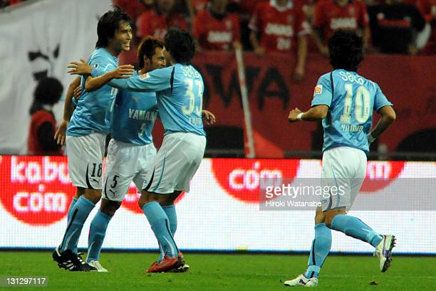 Ryoichi Maeda of Jubilo Iwata celebrates the goal with team mates during J.League match between Urawa Red Diamonds and Jubilo Iwata at Saitama...