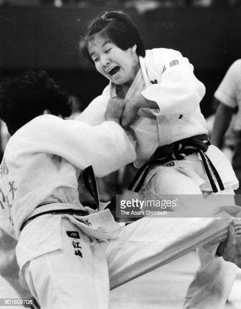 Ryoko Tamura and Fumiko Esaki compete in the 48kg final during the All Japan Women's Judo Championships By Weight Category at the Yoyogi National...
