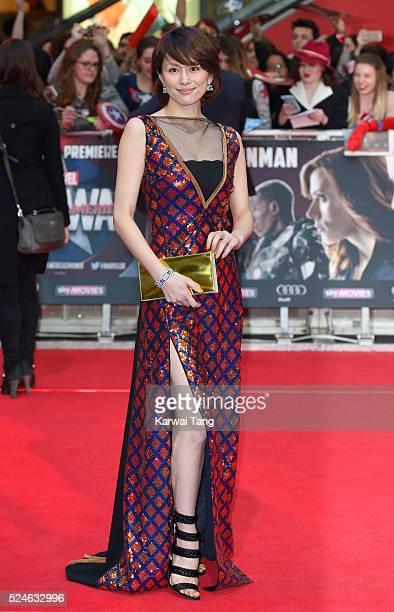 Ryoko Yonekura arrives for the European film premiere of 'Captain America Civil War' at Vue Westfield on April 26 2016 in London England