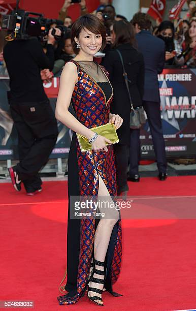 "Ryoko Yonekura arrives for the European film premiere of ""Captain America: Civil War"" at Vue Westfield on April 26, 2016 in London, England"